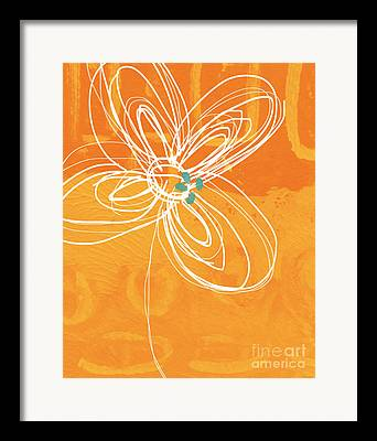 Blue And Orange Abstract Art Framed Prints