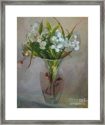 White Flowers        Copyrighted Framed Print by Kathleen Hoekstra