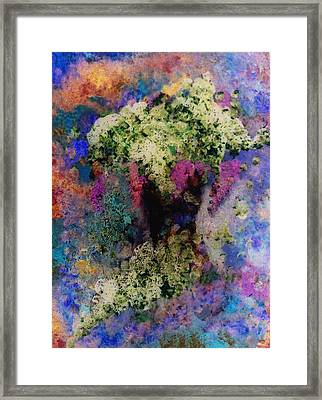 White Flowers In A Vase Framed Print by Lee Green