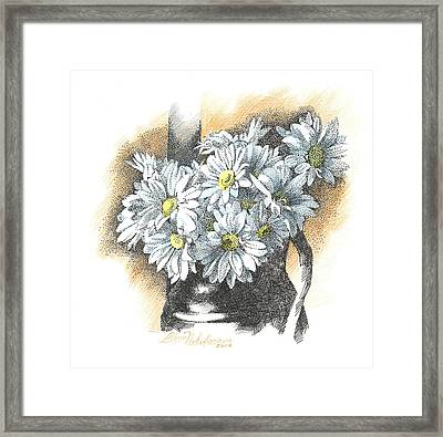 White Flowers Pointillism Drawing  Framed Print