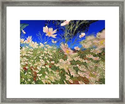 Framed Print featuring the digital art White Flowers by Susanne Baumann