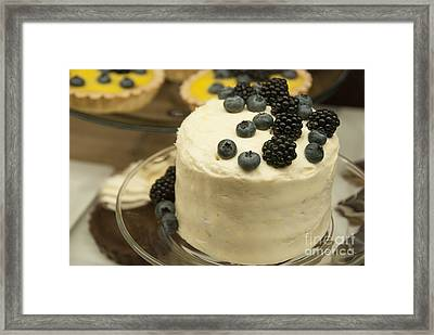 White Frosted Cake With Berries Framed Print by Juli Scalzi