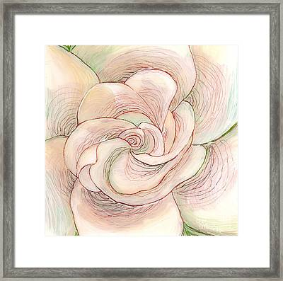Framed Print featuring the painting White Gardenia 1 by Anna Skaradzinska