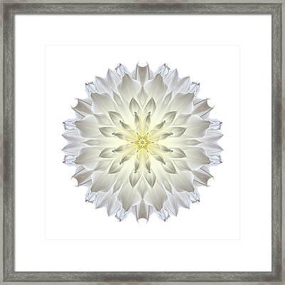Giant White Dahlia I Flower Mandala White Framed Print