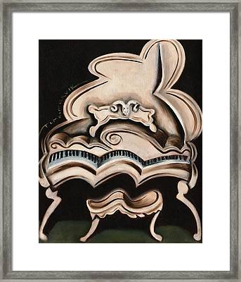 Abstract White Grand Piano Art Print Framed Print
