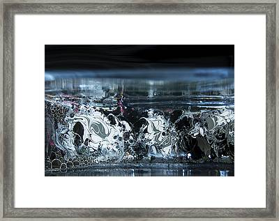 White Silver Fluid Motion 5 Framed Print by Renee Anderson