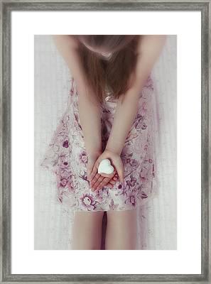 White Heart Framed Print by Joana Kruse