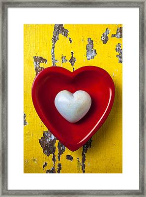 White Heart Red Heart Framed Print by Garry Gay