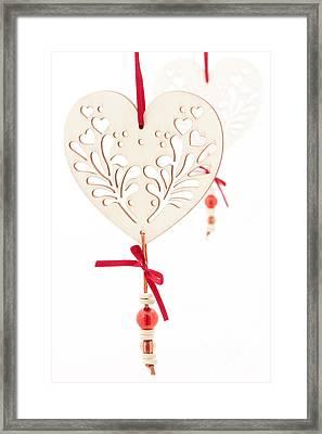 White Hearts Framed Print