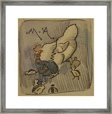 White Hen And Chickens, C.1901 Framed Print by Joseph Crawhall