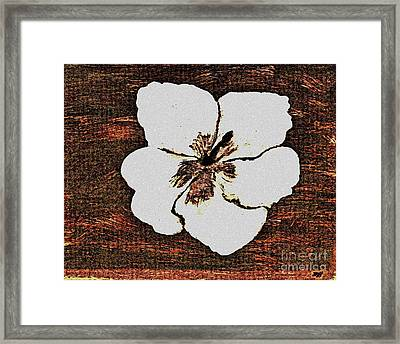 White Hibiscus Digital Painting Framed Print by Marsha Heiken