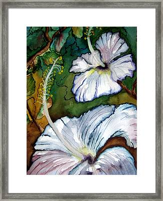 Framed Print featuring the painting White Hibiscus by Lil Taylor
