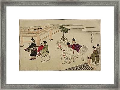 White Horse At Shinto Shrine Framed Print