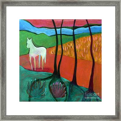 White Horse Framed Print by Elizabeth Fontaine-Barr