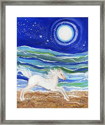 White Horse Of The Sea Framed Print