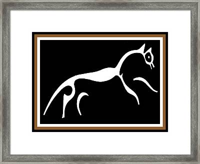 White Horse Of Uffington Framed Print by Vagabond Folk Art - Virginia Vivier
