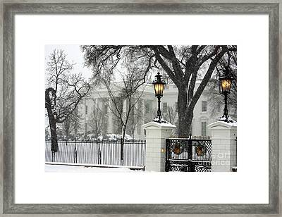 White House Christmas Framed Print