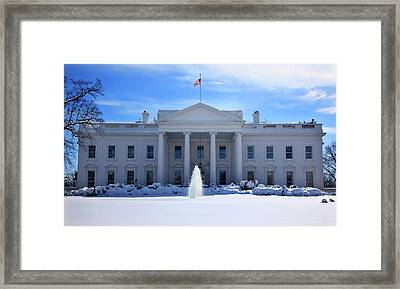 White House Fountain Flag After Snow Framed Print