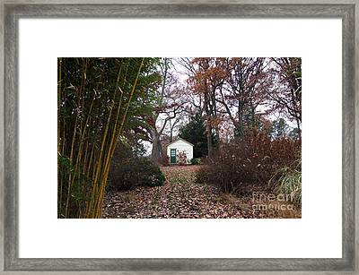 White House In The Garden Framed Print by John Rizzuto