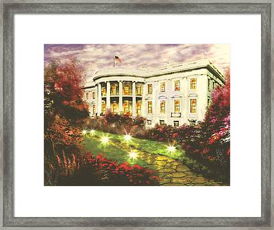 White House Framed Print by Jessie J De La Portillo