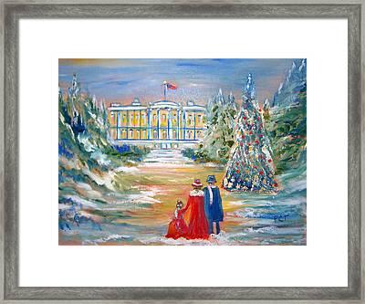 White House On A Hill Framed Print