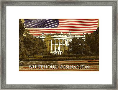 White House Washington In Red White Blue - Poster Art Framed Print by Art America Online Gallery