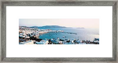 White Houses & Aegean Sea Mykonos Isl Framed Print
