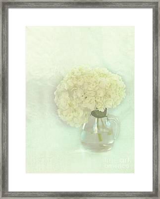 White Hydrangeas Framed Print by Kay Pickens