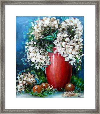 Framed Print featuring the painting White Hydrangeas by Patrice Torrillo