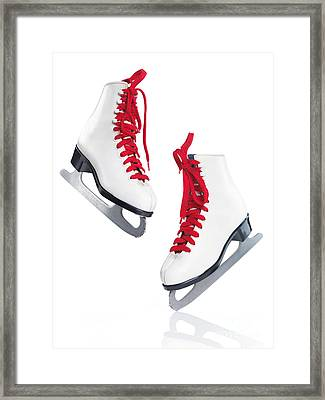 White Ice Skates With Red Laces Framed Print