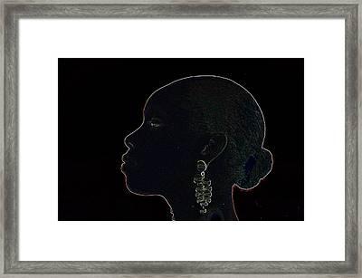 White Ink On Black Velvet Framed Print