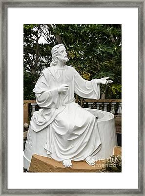 White Jesus Statue Framed Print