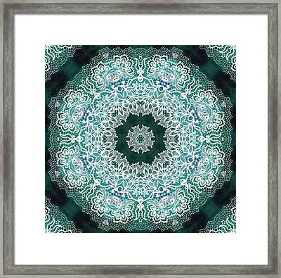 White Lace On Malachite Background Framed Print by Lilia D