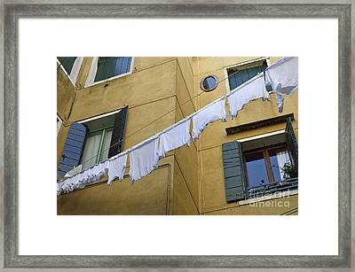 White Laundry Hanging On Clothelines Framed Print
