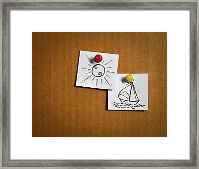 White Leaflets With Cartoon Icons Framed Print by Jozef Jankola