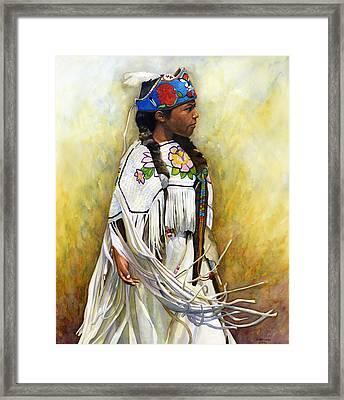 White Leather Buckskin And Headdress Framed Print by Jacquelin L Vanderwood Westerman