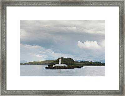 White Lighthouse Along The Coast Framed Print by John Short