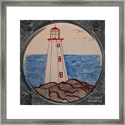 White Lighthouse - Porthole Vignette Framed Print