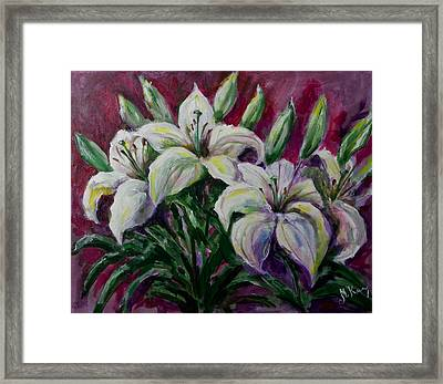 White Lilies Framed Print