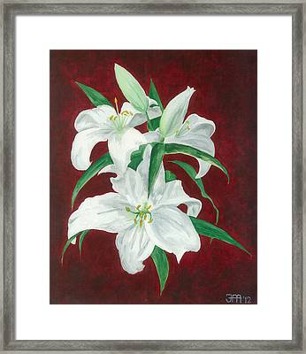 White Lily Dark Red Background  Framed Print by Jekaterina Mudivarthi