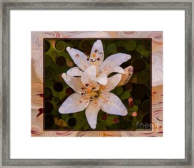 White Lily Opening To The Sun Abstract Flower Art Framed Print by Omaste Witkowski