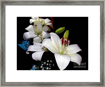 Framed Print featuring the photograph White Lilys by Elvira Ladocki