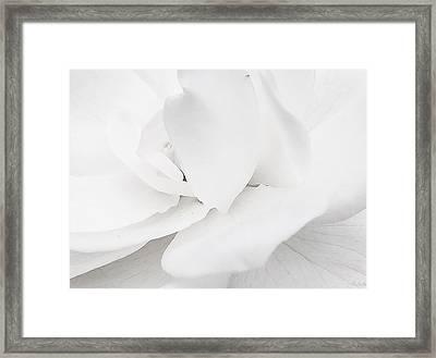 White Framed Print by Lina Jordaan