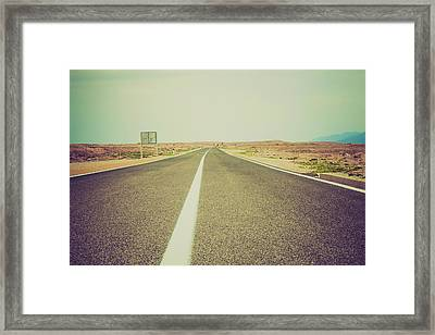 White Line On A Main Road Framed Print by Wladimir Bulgar