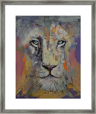 White Lion Framed Print by Michael Creese