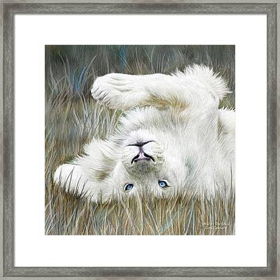 White Lion - Wild In The Grass Sq Framed Print