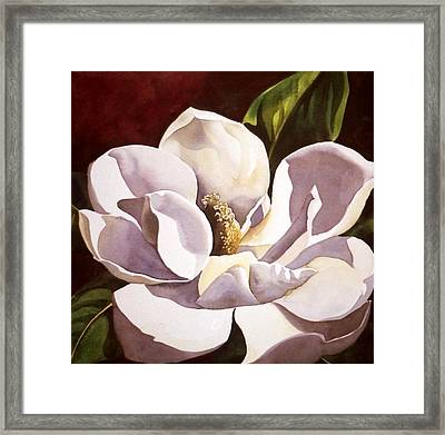 White Magnolia With Red Framed Print