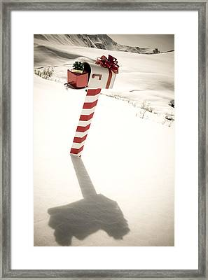 White Mailbox Decorated For Christmas Framed Print