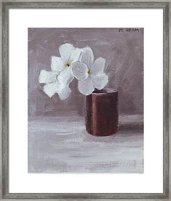 White Framed Print by Mary Adam