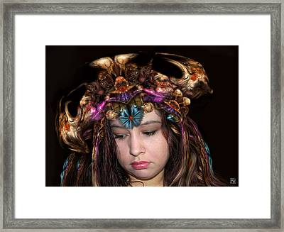 White Meat And Bones Tiara Framed Print